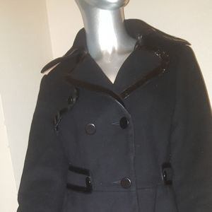 Stunning BEBE Black Wool Trench Coat Sz Small